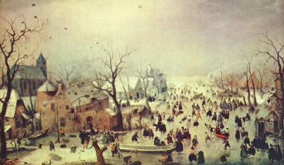 Winterlandschap met schaatsers, 1608, Rijks