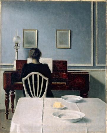 Hammershoi, interieur met vrouw achter piano, 1901