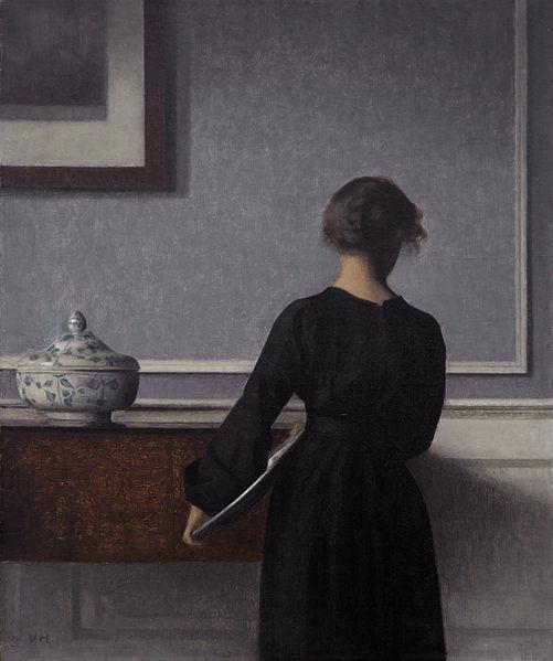 Vilhelm Hammershoi, Interieur met zicht op rug van vrouw 1903-1904