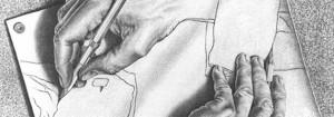 Tekenende handen, M.C. Escher, 1948